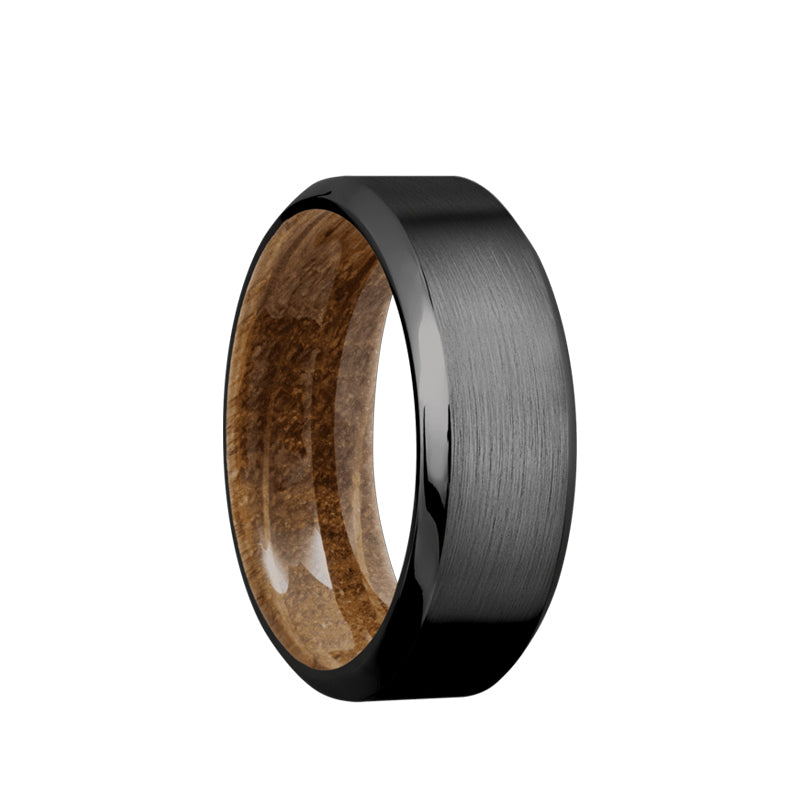 Black Zirconium men's wedding band with beveled edges featuring a whiskey barrel sleeve.