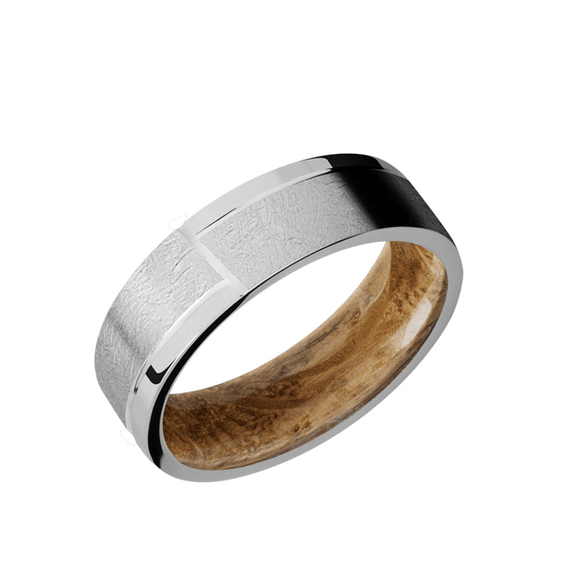 Titanium flat men's wedding band with a distressed finish and polished design featuring a whiskey barrel sleeve.