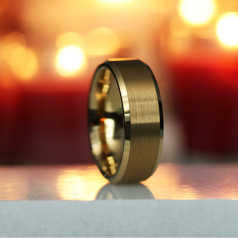 Gold Plated Tungsten wedding band with beveled edges