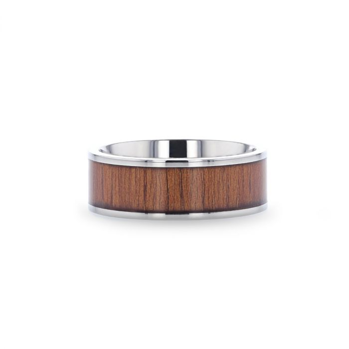 Titanium men's wedding ring with rare koa wood inlay and polished finish