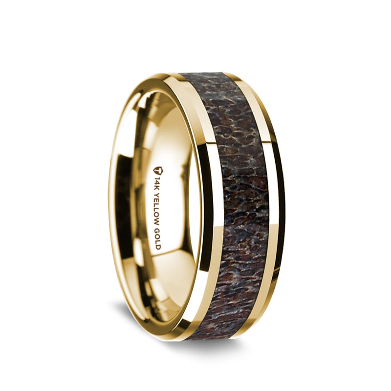 14K Gold wedding ring with dark deer antler inlay and beveled edges.