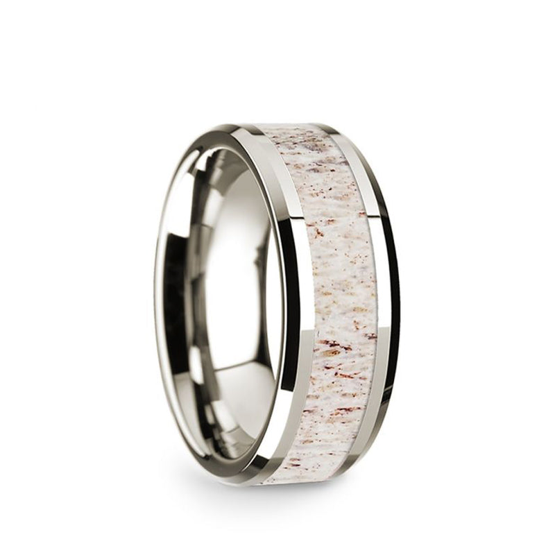 14K White Gold wedding band with white deer antler inlay and beveled edges.