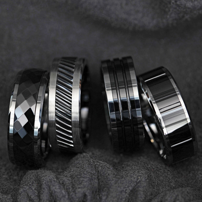 Tungsten men's spinner wedding ring with diamond faceted, black, ceramic center and beveled edges