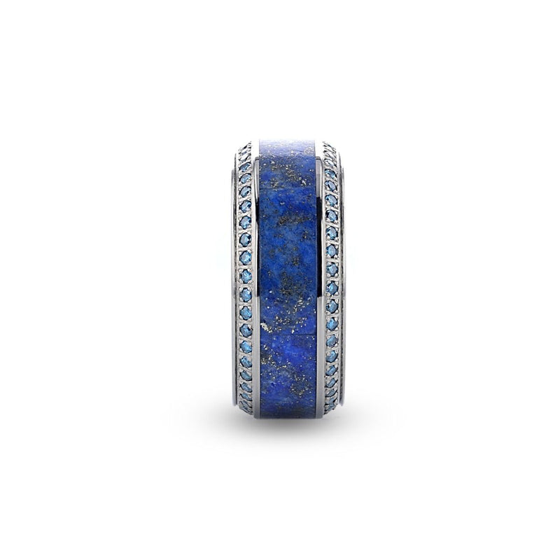 Titanium wedding ring with lapis lazuli inlay set with round blue diamonds and polished beveled edges