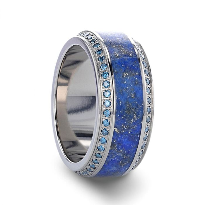 Titanium wedding ring with lapis lazuli inlay set with round blue diamonds and polished beveled edges.