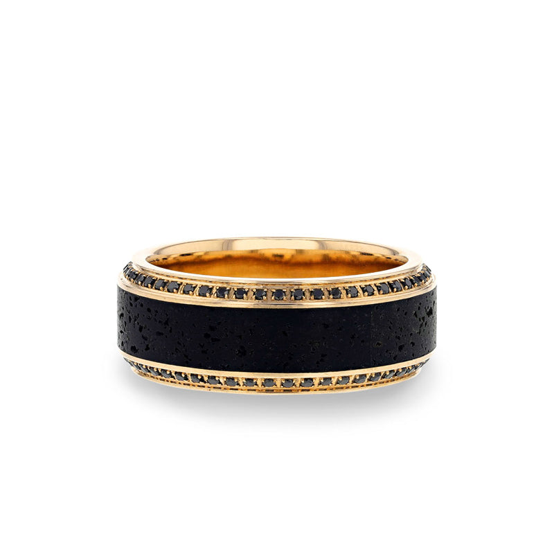 10K Yellow Gold & Rose Goldmen's wedding ring with lava inlay and set with round black diamonds and beveled edges.