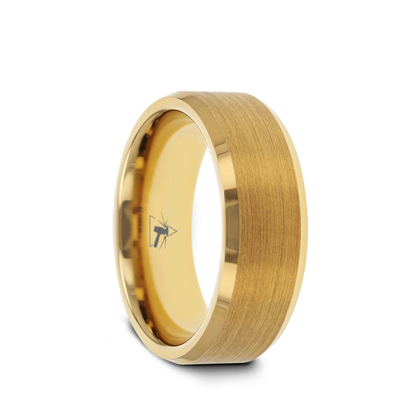 Gold Plated Titanium men's wedding band with brushed center and beveled edges.