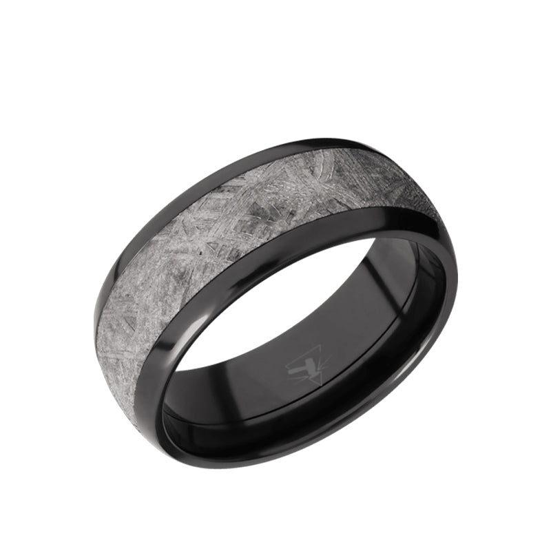 Black Zirconium domed or beveled men's wedding band with 5mm of meteorite inlay.