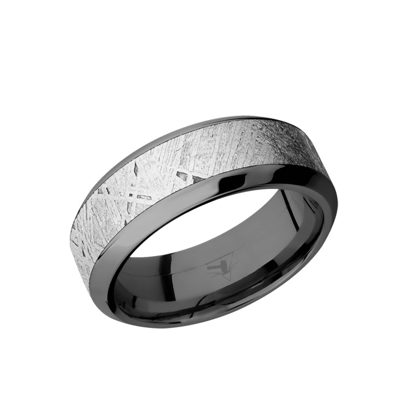 Black Zirconium beveled men's wedding band with 5mm of meteorite inlay.