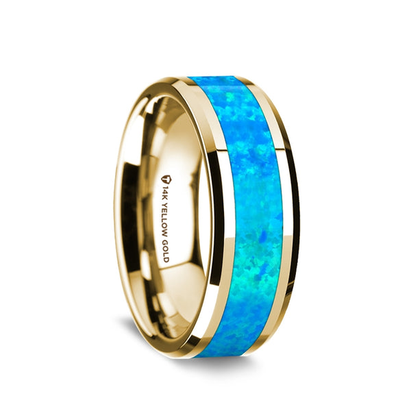 14K Gold men's wedding band with blue opal inlay and beveled edges.