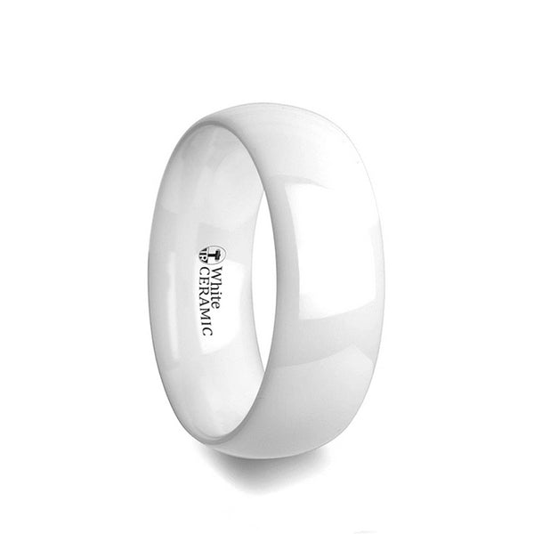 White Ceramic domed wedding ring with polished finish