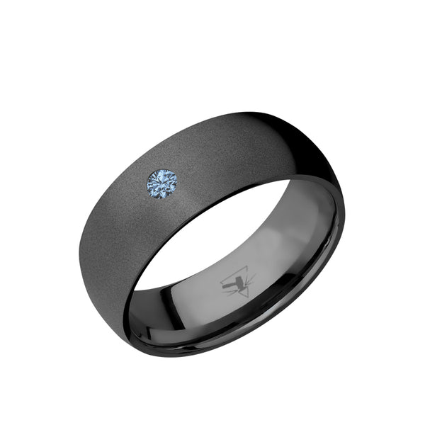 Black Zirconium domed men's wedding band with a .1 carat solitaire denim sapphire and a bead finish