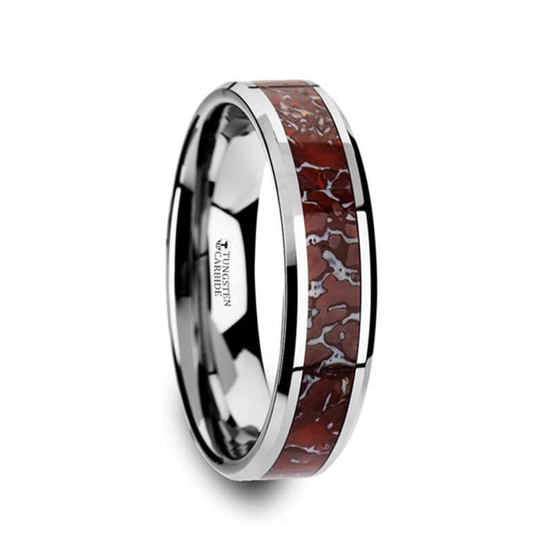 Tungsten wedding band with beveled edges and red dinosaur bone inlay