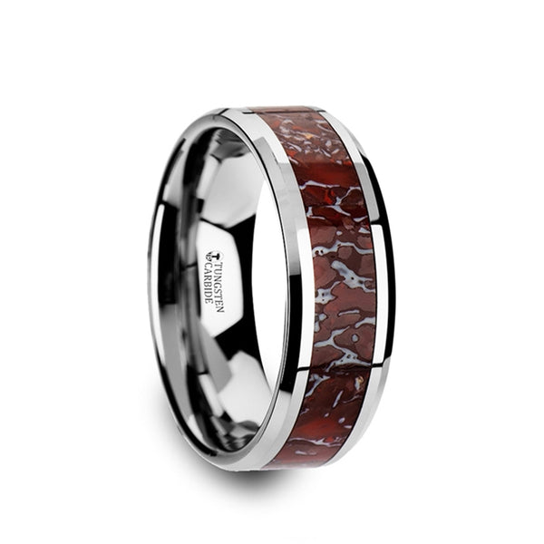 Tungsten men's wedding band with red dinosaur bone inlay and beveled edges