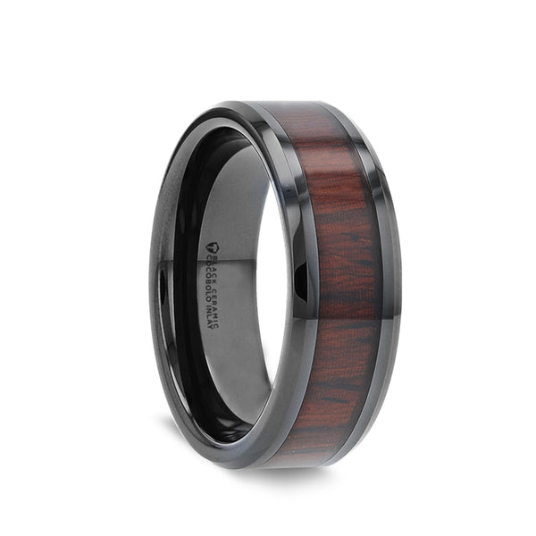 Black Ceramic men's wedding ring with cocobolo wood inlay and beveled edges