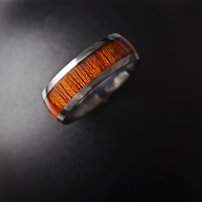 Tungsten Carbide polished finish men's domed wedding band with koa wood inlay