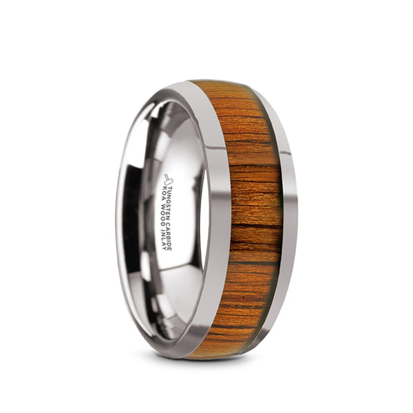 Tungsten Carbide domed men's wedding band with koa wood inlay and polished finish