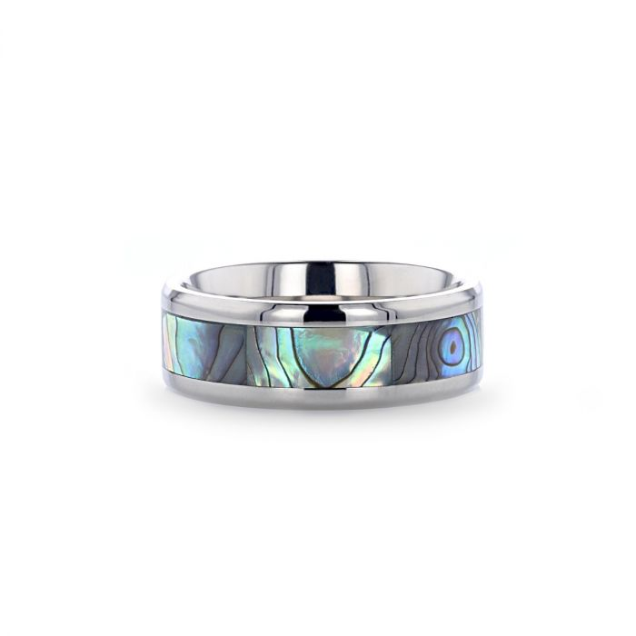 Titanium wedding ring with mother of pearl inlay and beveled edges