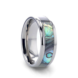Titanium men's wedding ring with mother of pearl inlay and beveled edges