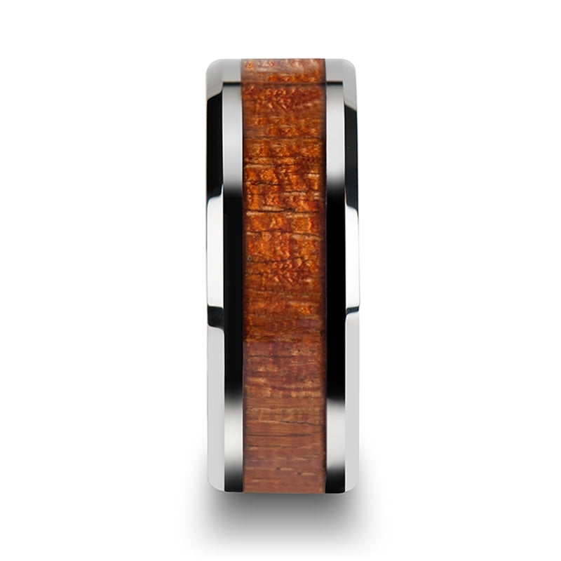 Tungsten Carbide polished finish men's wedding band with exotic mahogany hard wood inlay