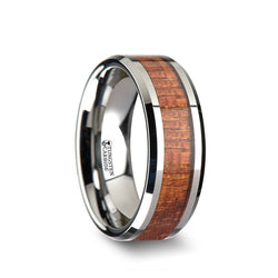 Tungsten Carbide men's wedding band with exotic mahogany hard wood inlay and polished finish