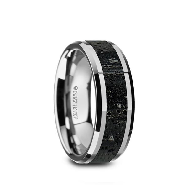 Tungsten men's wedding band with black and gray lava rock stone inlay and beveled edges.