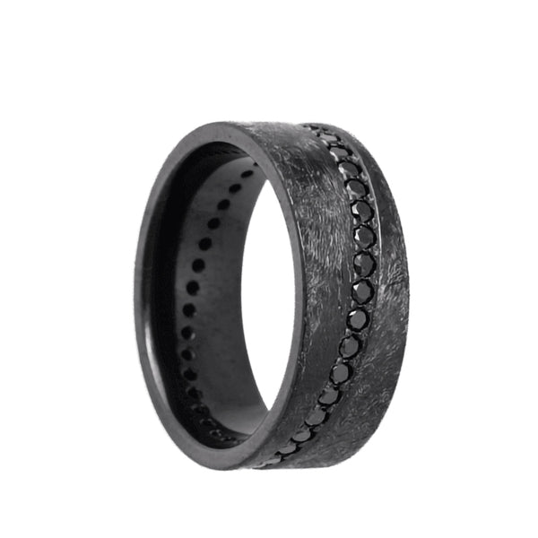 Black Zirconium flat men's wedding band with an angled, black diamond eternity channel set featuring a distress finish.
