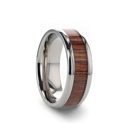 Titanium wedding ring with exotic koa wood inlay and beveled edges.