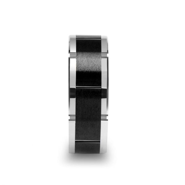 Tungsten watch style men's wedding band with ceramic center and horizontal grooves.