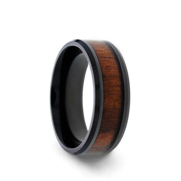 Black Titanium wedding band with polished beveled edges and black walnut inlay.