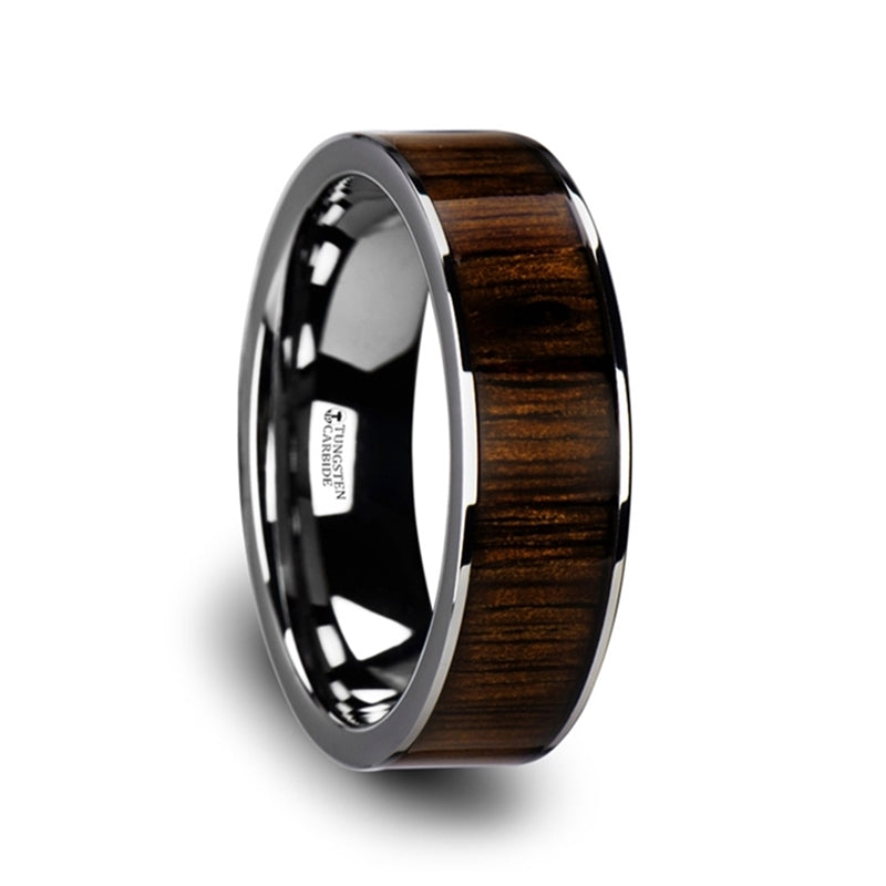 Flat Tungsten Carbide ring with black walnut wood inlay and polished edges