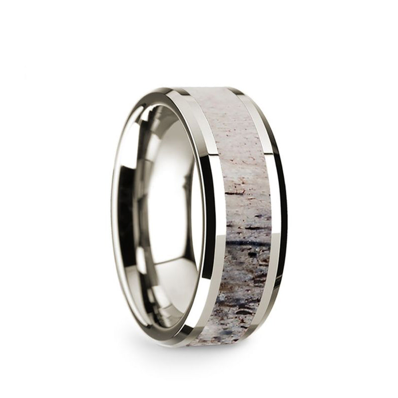 14K White Gold wedding band with ombre deer antler inlay and beveled edges.