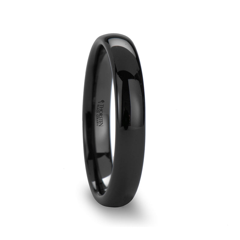 Black Ceramic domed wedding ring with polished finish