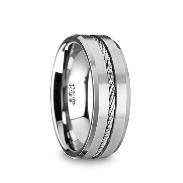 Tungsten men's wedding band with steel wire cable inlay and beveled edges