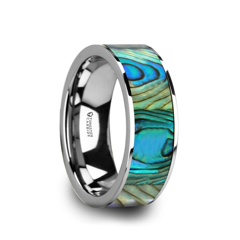 Tungsten men's wedding ring with mother of pearl inlay and polished finish.