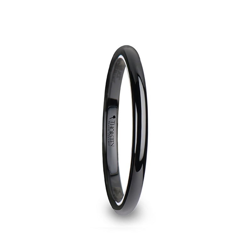 Black Ceramic domed women's wedding ring with polished finish