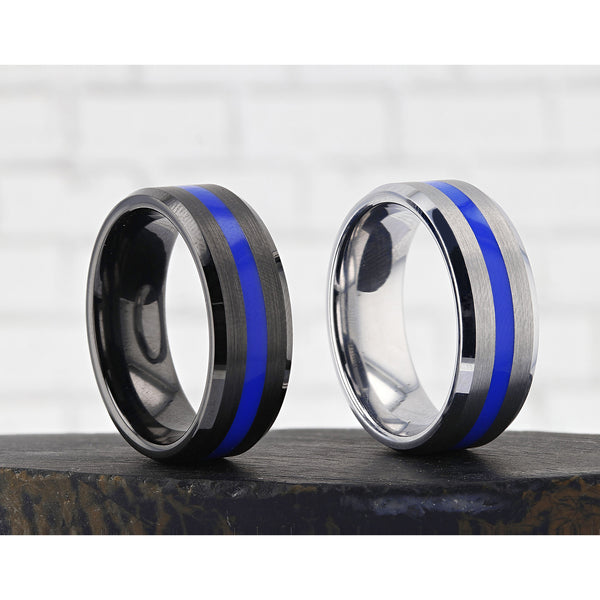 White Tungsten brushed finish wedding ring with beveled edges and blue stripe
