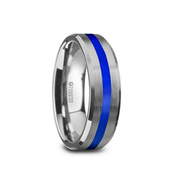 White Tungsten men's wedding ring with blue stripe and beveled edges