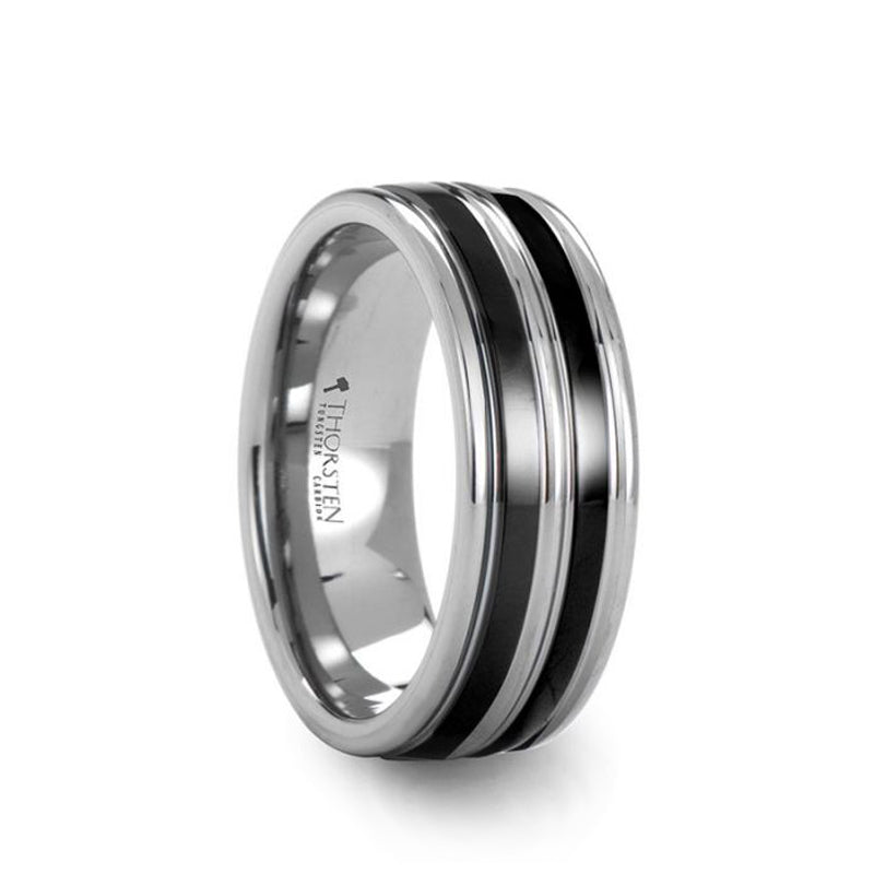 Tungsten men's wedding band with dual offset ceramic inlays.