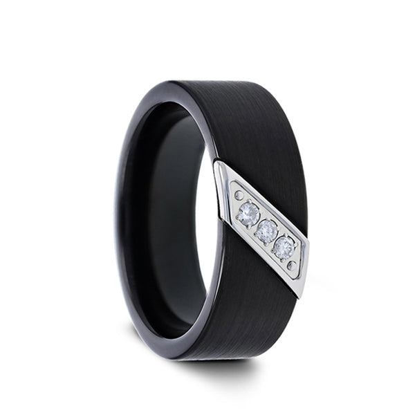 Tungsten men's wedding ring with flat black satin finish and diagonal diamonds set in steel