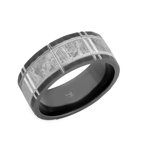 Black Zirconium flat men's wedding band with a meteorite inlay and segmented pattern.