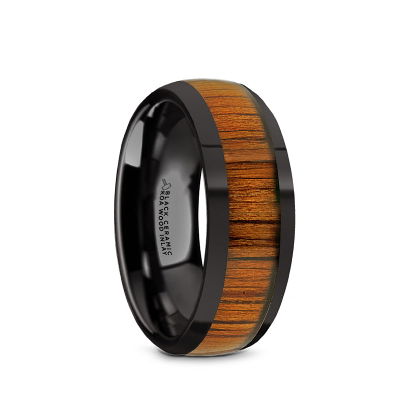 Black Ceramic domed men's wedding ring with koa wood inlay and polished finish