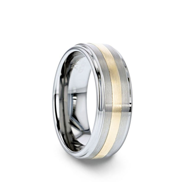 Tungsten men's wedding ring with raised center, gold inlay, satin finish with step edges.