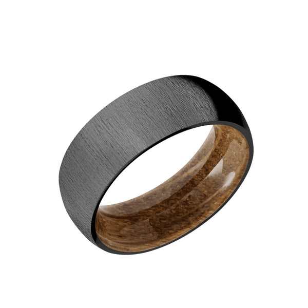 Black Zirconium domed men's wedding band with a cross satin brush or distressed finish featuring a whiskey barrel sleeve.