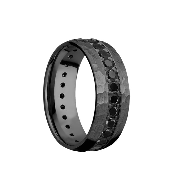 Black Zirconium domed men's wedding band with an eternity arrangement of ethically sourced .05 carat black diamonds and a hammered finish.
