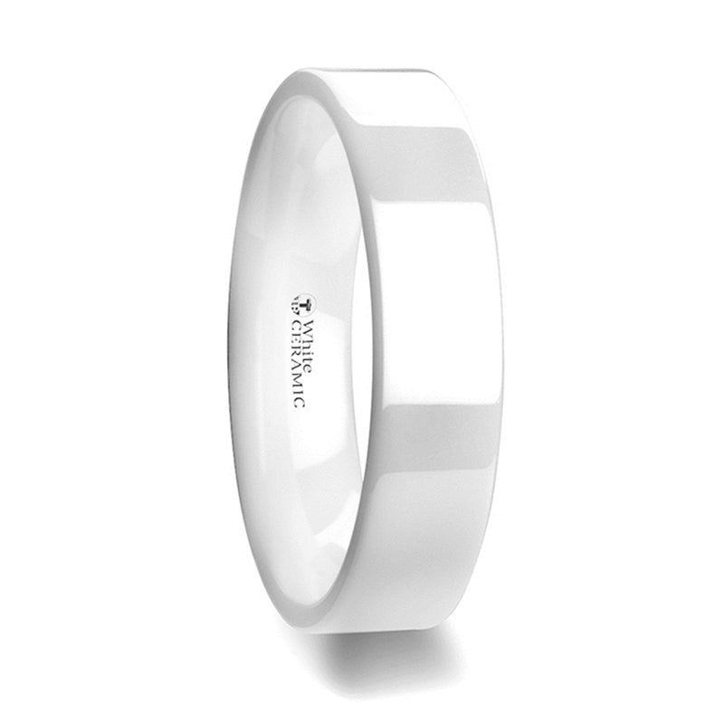 White Ceramic flat wedding ring with polished finished
