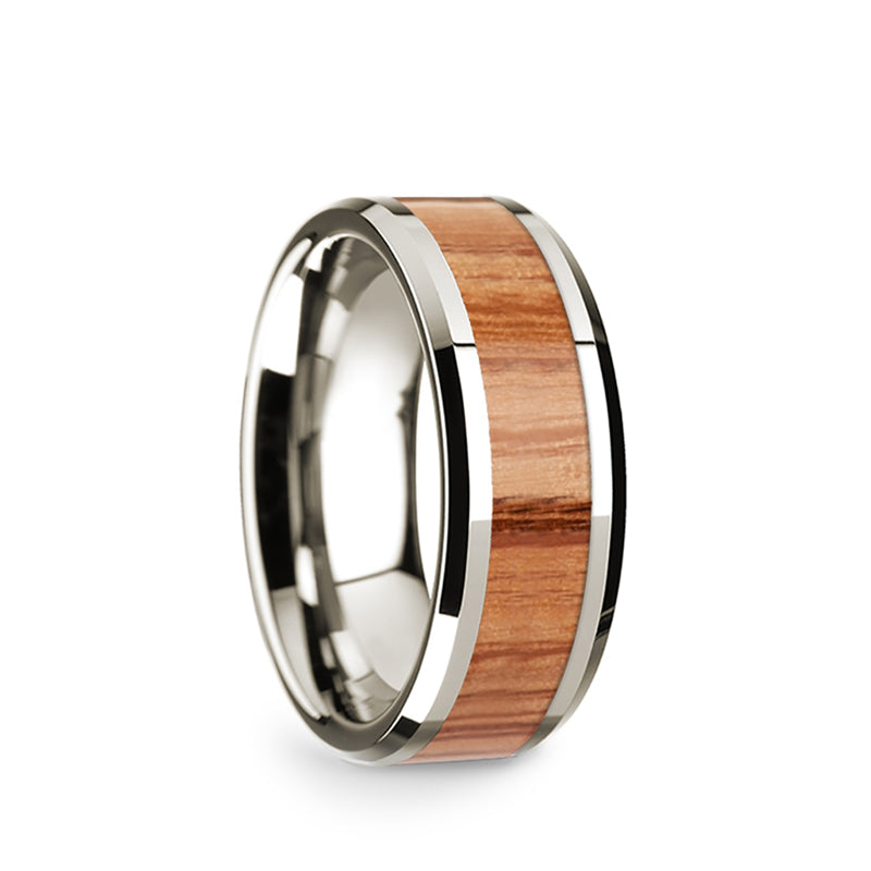 14K White Gold men's wedding band with red oak wood inlay and beveled edges