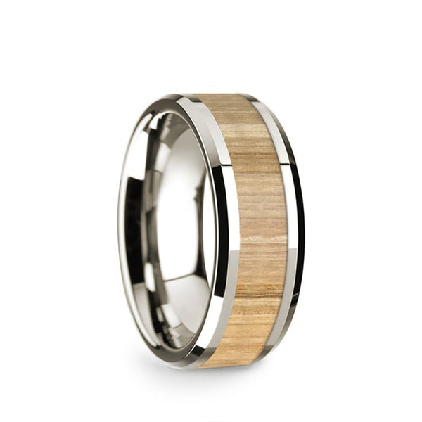 14K White Gold wedding band with ash wood inlay and beveled edges