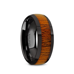 Black Ceramic domed men's wedding ring with mahogany wood inlay and polished finish