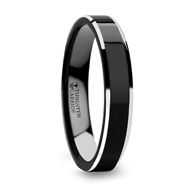 Tungsten Carbide wedding ring with black polish finished center and metallic beveled edges